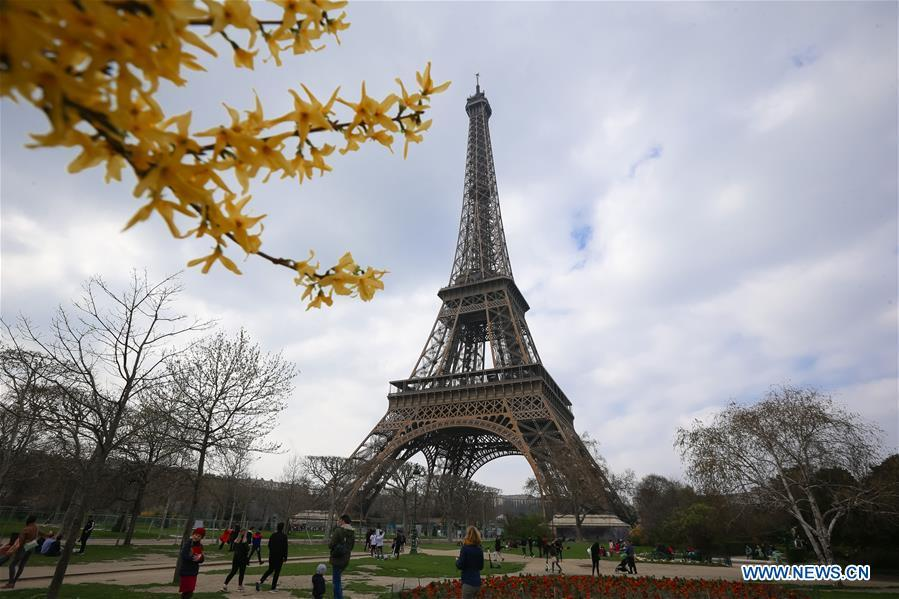 Photo taken on March 23, 2019 shows the Eiffel Tower in Paris, France. (Xinhua/Zhang Cheng)