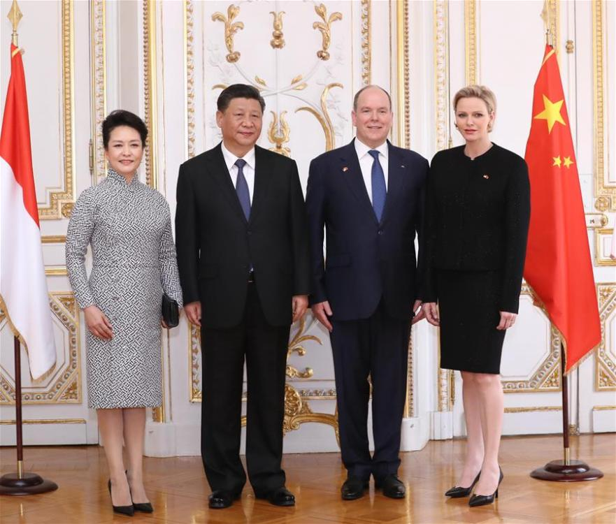 Chinese President Xi Jinping attends a grand welcome ceremony held by Prince Albert II, head of state of the Principality of Monaco, before their talks in Monaco, March 24, 2019. (Xinhua/Wang Ye)