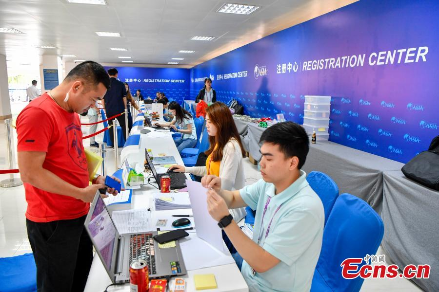 A view of the registration centre for the Boao Forum for Asia (BFA) in Boao, South China\'s Hainan Province, March 24, 2019. The conference, scheduled to take place from March 26 to 29, will be themed \