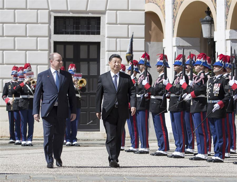 Chinese President Xi Jinping arrives in the southern French city of Nice, March 24, 2019, before heading to the Principality of Monaco for a state visit. Xi and his wife, Peng Liyuan, were greeted by senior government officials of Monaco and France at the airport. (Xinhua/Ju Peng)
