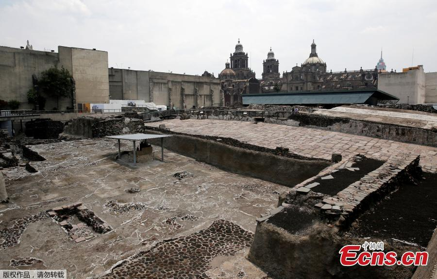 A general view of the ruins of the Aztecs\' most important temple, known as the Templo Mayor, where the latest sacrificial offerings were found in downtown Mexico City, Mexico, June 7, 2017. (Photo/Agencies)