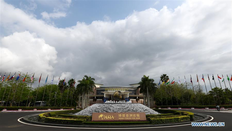 Photo taken on March 25, 2019 shows the International Conference Center in Boao Town of Qionghai City, south China\'s Hainan Province. The BFA annual conference will be held in Boao from March 26 to 29 under the theme of \
