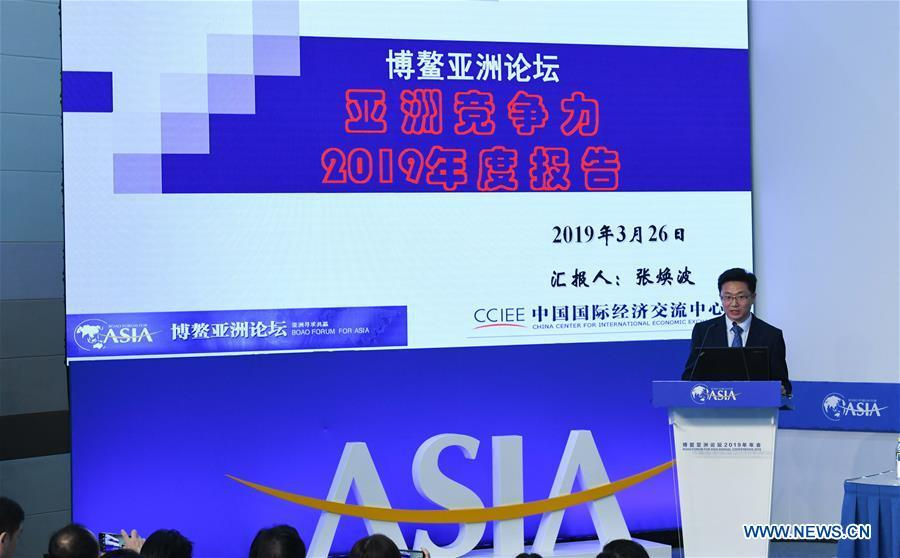 Zhang Huanbo, deputy director of Institute of American and European Studies of China Center for International Economic Exchanges, speaks at a press conference of the Boao Forum for Asia (BFA) annual conference in Boao, south China\'s Hainan Province, March 26, 2019. (Xinhua/Yang Guanyu)