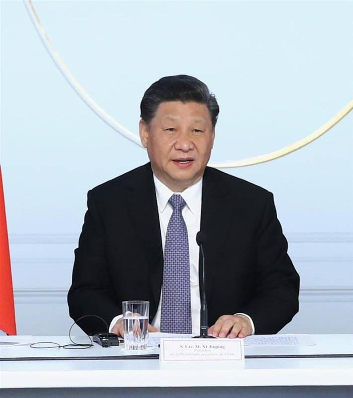 Chinese President Xi Jinping addresses the closing ceremony of a global governance forum co-hosted by China and France in Paris, France, March 26, 2019. (Xinhua/Ju Peng)
