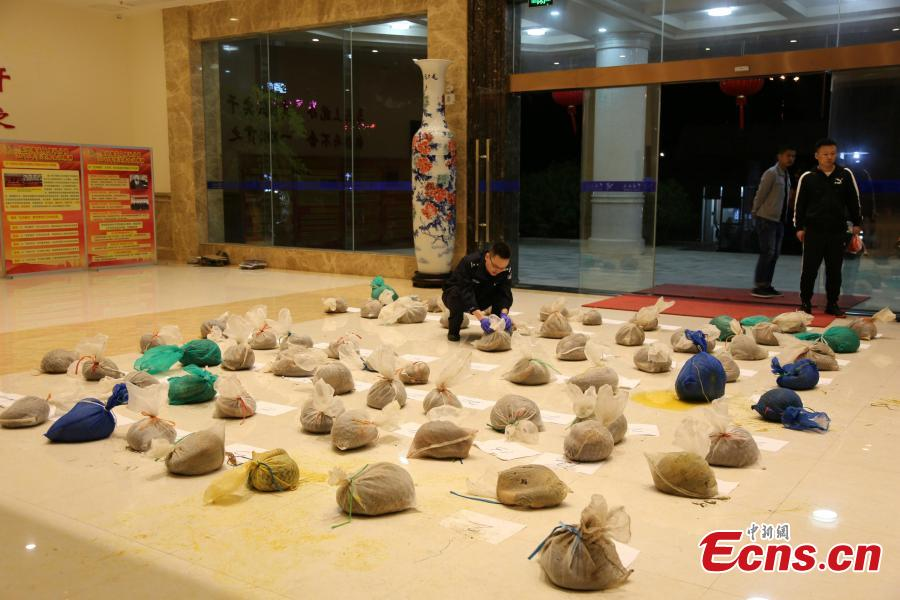 Officials from Nanning Customs display pangolins seized in an anti-smuggling campaign in Nanning City, Southwest China\'s Guangxi Zhuang Autonomous Region, March 29, 2019. The Anti-Smuggling Bureau of General Administration of Customs, its branch in Guangdong Province and Nanning Customs jointly launched the campaign that uncovered nine criminal gangs and seized 103 live pangolins, 52 pangolin carcasses and 21.55 kg of pangolin scales. (Photo: China News Service/Wang Shuyan)