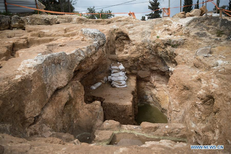 Photo taken on March 27, 2019 shows the view of the remains of a rural Jewish settlement at the Sharafat neighborhood of Jerusalem. Remains of a rural Jewish settlement from 2,000 years ago with luxurious burial ground were discovered in excavations in southern Jerusalem, the Israel Antiquities Authority (IAA) reported on Wednesday. (Xinhua/JINI)