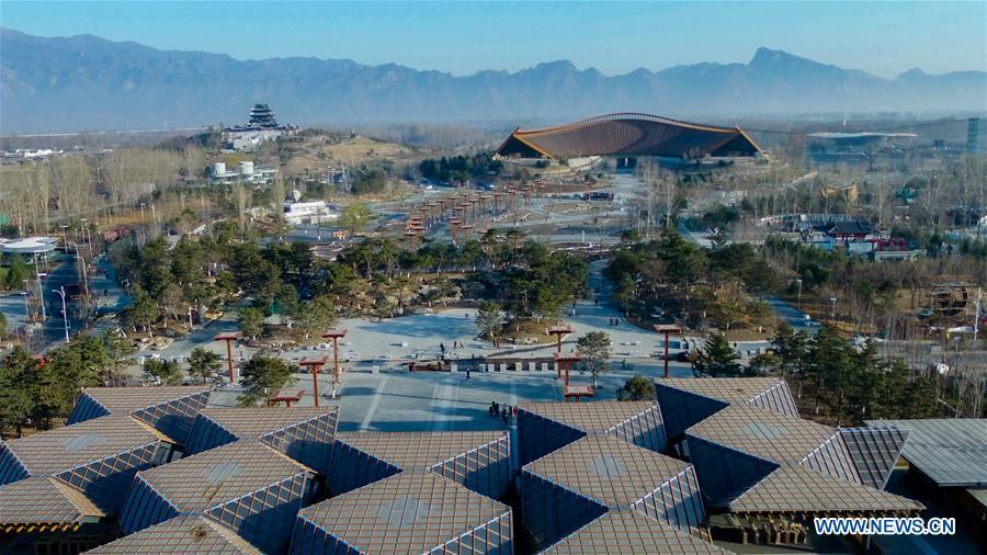 Aerial photo taken on March 27, 2019 shows the site of the International Horticultural Exhibition 2019 Beijing China (Expo 2019 Beijing) in Yanqing District of Beijing, capital of China. The 2019 Beijing International Horticultural Exhibition is slated to kick off on April 29, 2019. (Xinhua/Ma Xiaodong)