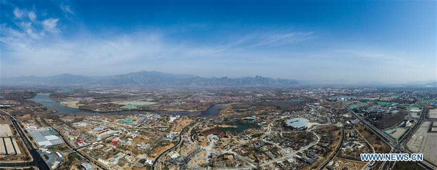 Stitched aerial photo taken on March 26, 2019 shows the site of the International Horticultural Exhibition 2019 Beijing China (Expo 2019 Beijing) in Yanqing District of Beijing, capital of China. The 2019 Beijing International Horticultural Exhibition is slated to kick off on April 29, 2019. (Xinhua/Wang Jianhua)