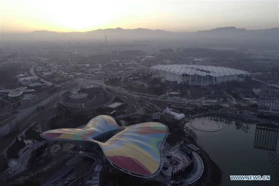 Aerial photo taken on March 27, 2019 shows the site of the International Horticultural Exhibition 2019 Beijing China (Expo 2019 Beijing) in Yanqing District of Beijing, capital of China. The 2019 Beijing International Horticultural Exhibition is slated to kick off on April 29, 2019. (Xinhua/Zhang Haofu)