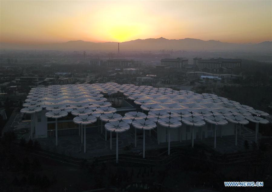 Aerial photo taken on March 27, 2019 shows the International Pavilion at the site of the International Horticultural Exhibition 2019 Beijing China (Expo 2019 Beijing) in Yanqing District of Beijing, capital of China. The 2019 Beijing International Horticultural Exhibition is slated to kick off on April 29, 2019. (Xinhua/Zhang Chenlin)