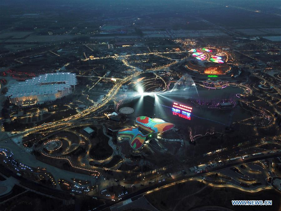 Aerial photo taken on March 26, 2019 shows the night view at the site of the International Horticultural Exhibition 2019 Beijing China (Expo 2019 Beijing) in Yanqing District of Beijing, capital of China. The 2019 Beijing International Horticultural Exhibition is slated to kick off on April 29, 2019. (Xinhua/Ju Huanzong)