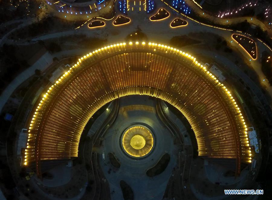 Aerial photo taken on March 26, 2019 shows the night view of China Pavilion of the International Horticultural Exhibition 2019 Beijing China (Expo 2019 Beijing) in Yanqing District of Beijing, capital of China. The 2019 Beijing International Horticultural Exhibition is slated to kick off on April 29, 2019. (Xinhua/Zhang Chenlin)