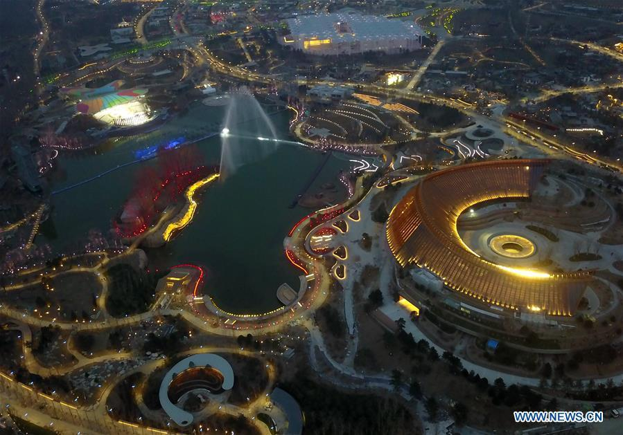 Aerial photo taken on March 26, 2019 shows the night view at the site of the International Horticultural Exhibition 2019 Beijing China (Expo 2019 Beijing) in Yanqing District of Beijing, capital of China. The 2019 Beijing International Horticultural Exhibition is slated to kick off on April 29, 2019. (Xinhua/Zhang Chenlin)