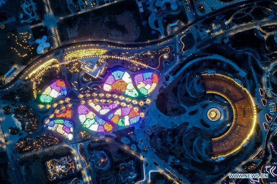 Aerial photo taken on March 26, 2019 shows the night view of China Pavilion of the International Horticultural Exhibition 2019 Beijing China (Expo 2019 Beijing) in Yanqing District of Beijing, capital of China. The 2019 Beijing International Horticultural Exhibition is slated to kick off on April 29, 2019. (Xinhua/Wang Jianhua)