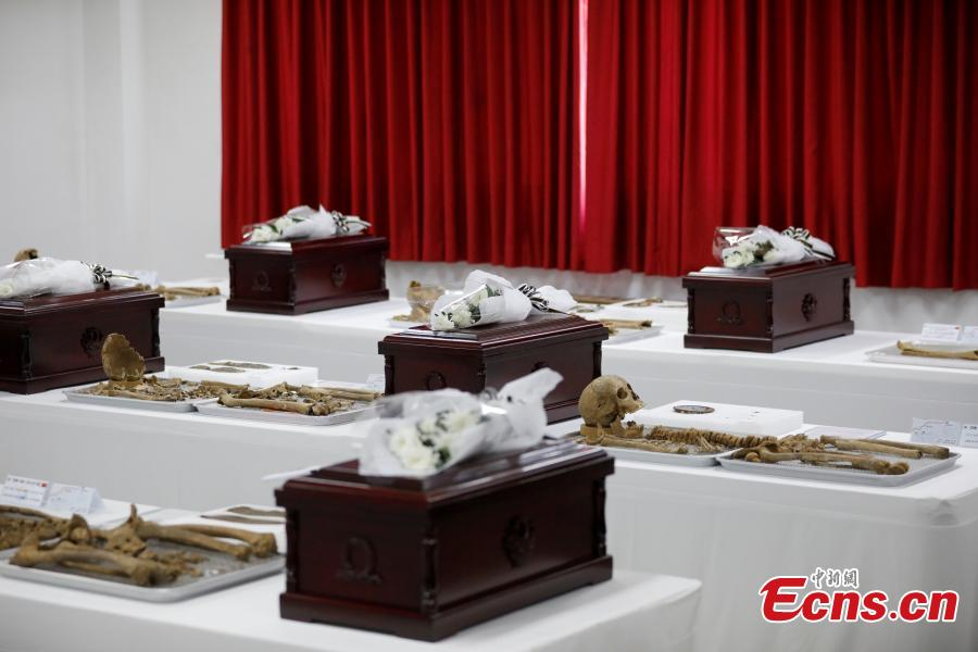 The remains of Chinese volunteer soldiers killed in the Korean War (1950-1953) are prepared before a transfer back to China in Incheon, South Korea, April 1, 2019. The handover ceremony for the remains of 10 Chinese volunteer soldiers will be held on April 3. (Photo: China News Service/Zeng Ding)