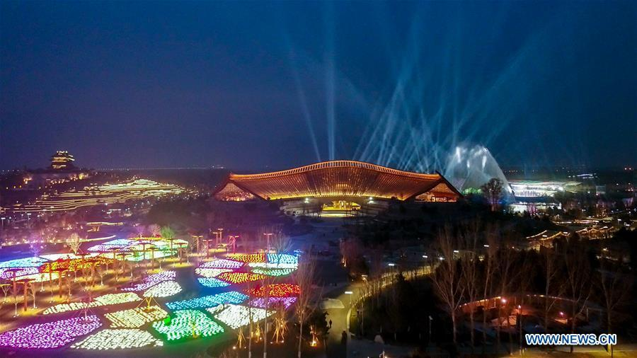 Aerial photo taken on March 26, 2019 shows the night view of China Pavilion of the International Horticultural Exhibition 2019 Beijing China (Expo 2019 Beijing) in Yanqing District of Beijing, capital of China. The 2019 Beijing International Horticultural Exhibition is slated to kick off on April 29, 2019. (Xinhua/Ma Xiaodong)
