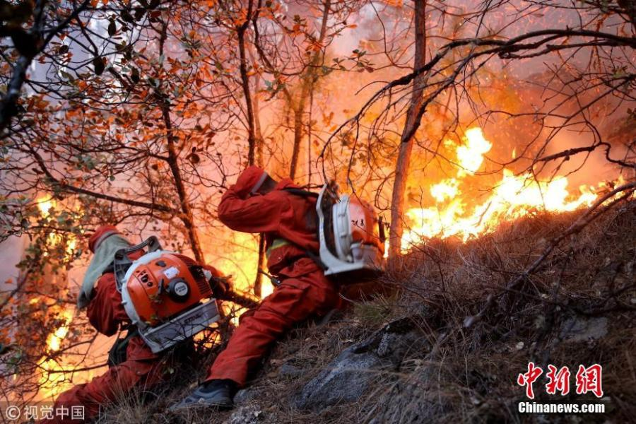Firefighters employ water tanks in a forest to prevent blaze from spreading in Ganzi, Sichuan Province, Feb. 19, 2018.  (Photo/Agencies)