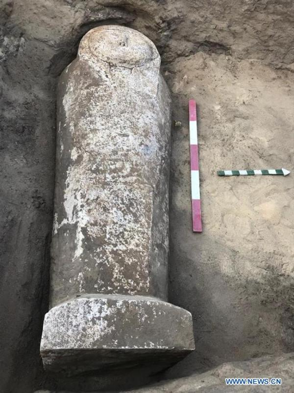 The undated photo provided by Egyptian Ministry of Antiquities on April 1, 2019 shows a limestone-made coffin in Quesna city of Menoufia province, Egypt. An Egyptian archaeological mission uncovered a limestone-made coffin in Quesna city of Menouifia province, the country\'s Ministry of Antiquities said in a statement on Monday. \
