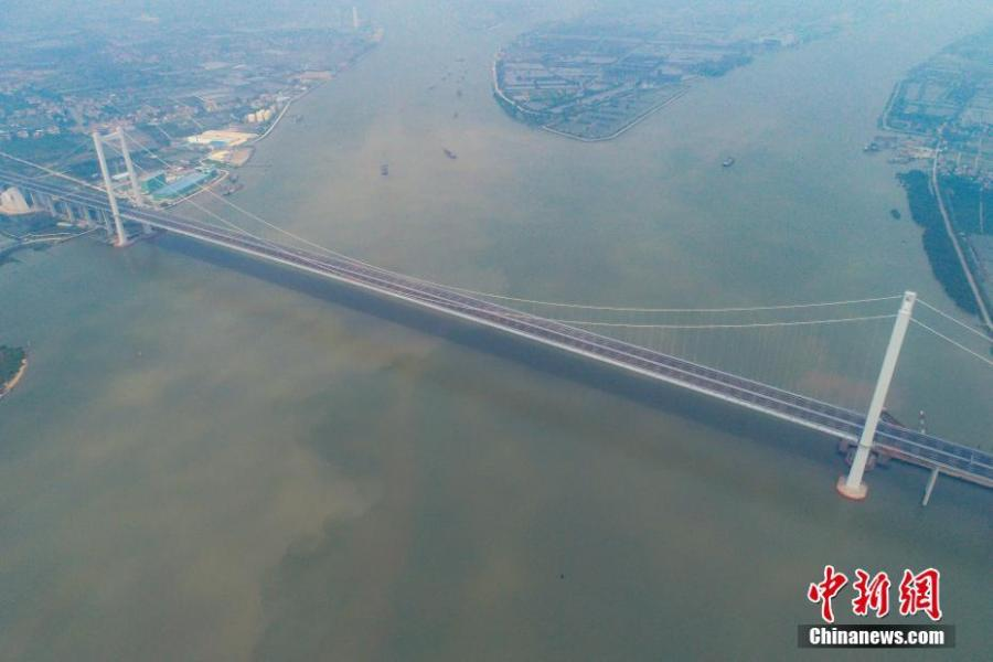 Photo taken on April 2, 2019 shows the Humen second Bridge (Nansha Bridge) in Dongguan, South China\'s Guangdong Province.  (Photo/China News Service)