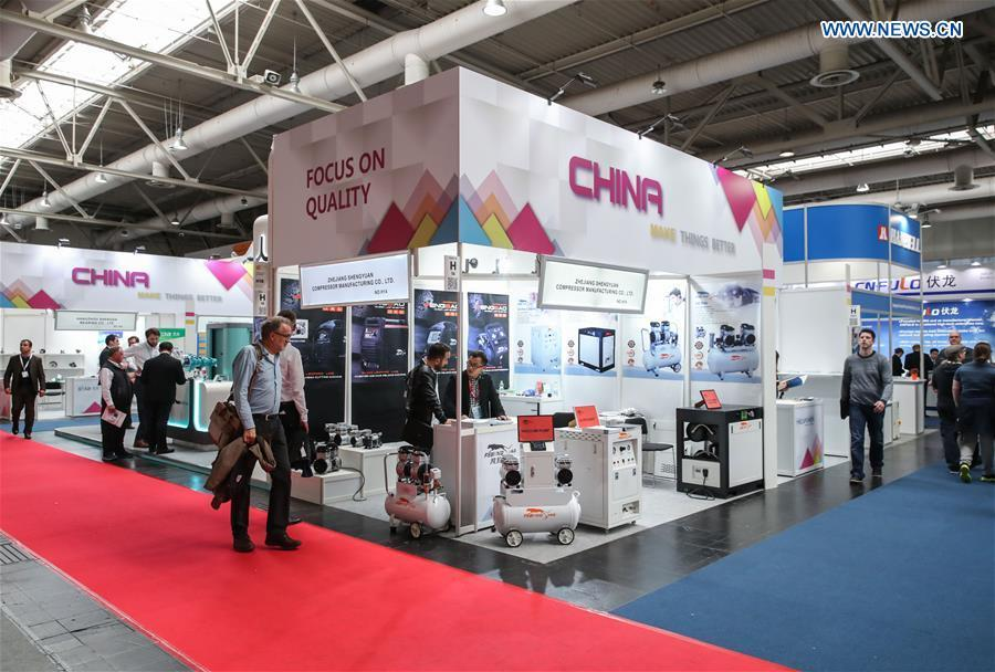 Photo taken on April 2, 2019 shows booths of Chinese exhibitors at Hanover Fair 2019 in Hanover, Germany. Over 1,400 Chinese exhibitors attended the fair, the second most just after the host country Germany. Huawei, Haier and other Chinese manufacturers showed their most advanced networking and artificial intelligence technologies to the world. (Xinhua/Shan Yuqi)