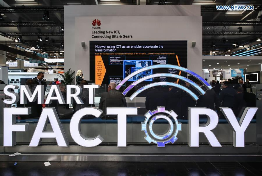 Photo taken on April 1, 2019 shows the booth of Chinese tech company Huawei at Hanover Fair 2019 in Hanover, Germany. Over 1,400 Chinese exhibitors attended the fair, the second most just after the host country Germany. Huawei, Haier and other Chinese manufacturers showed their most advanced networking and artificial intelligence technologies to the world. (Xinhua/Shan Yuqi)