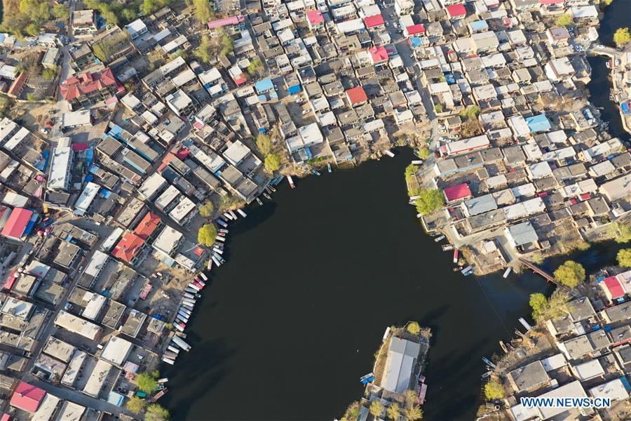Aerial photo taken on April 1, 2019 shows a village in the Baiyangdian Lake in Xiongan New Area, north China\'s Hebei Province. On April 1, 2017, China announced plans to establish the Xiongan New Area, about 100 km southwest of Beijing. Known as China\'s \