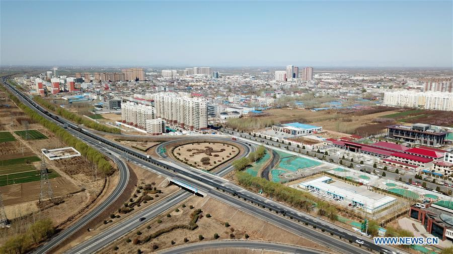 Aerial photo taken on March 31, 2019 shows the Rongcheng County in Xiongan New Area, north China\'s Hebei Province. On April 1, 2017, China announced plans to establish the Xiongan New Area, about 100 km southwest of Beijing. Known as China\'s \