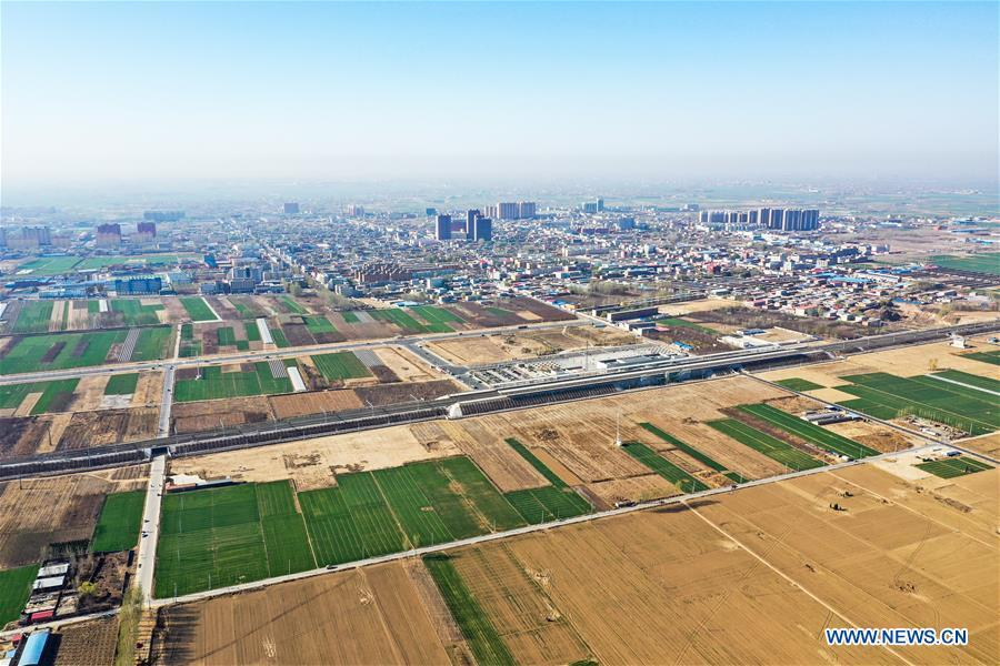 Aerial photo taken on April 1, 2019 shows the Baiyangdian Station in Xiongan New Area, north China\'s Hebei Province. On April 1, 2017, China announced plans to establish the Xiongan New Area, about 100 km southwest of Beijing. Known as China\'s \