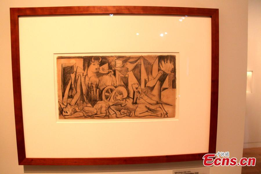 The exhibition Picasso and War opens at the Army Museum in Paris, France, April 3, 2019. The exhibition explores the various ways warfare informed and impacted Picasso\'s creative output throughout his career. (Photo: China News Service/Li Yang)