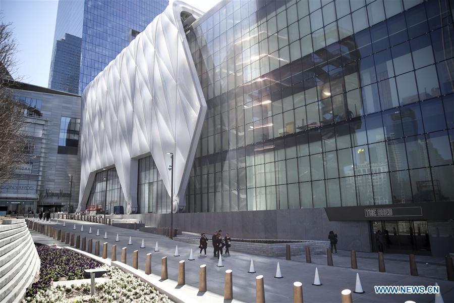 Photo taken on April 3, 2019 shows the building of The Shed, a new arts center in New York, the United States. The Shed, New York City\'s new arts center that commissions, develops, and presents original works of art, across all disciplines, for all audiences, will open to the public on April 5 with the world premiere of Soundtrack of America. (Xinhua/Wang Ying)