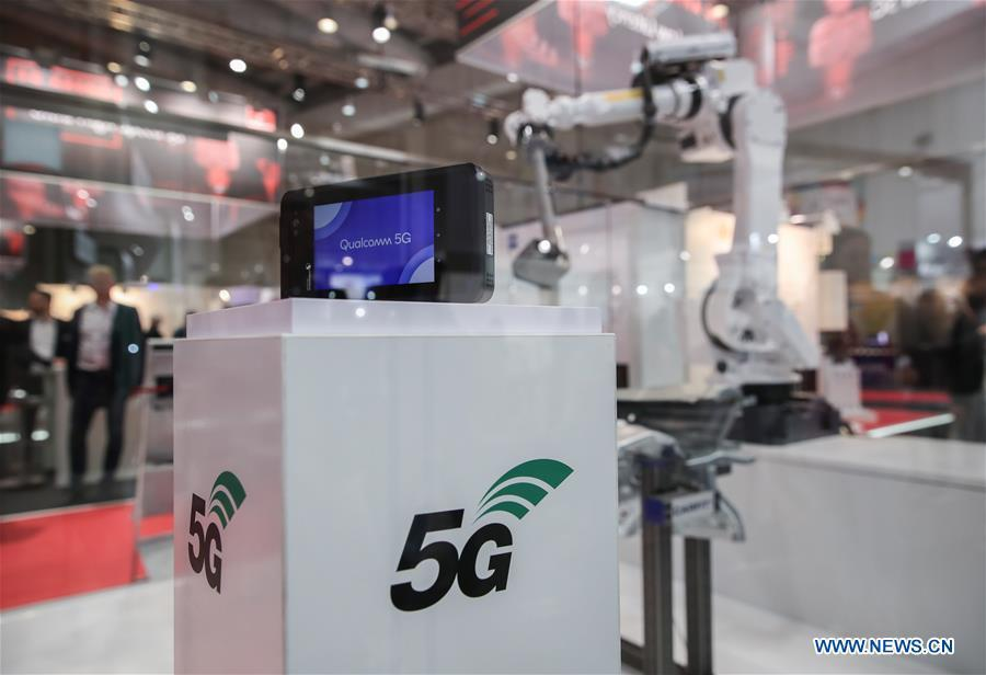 Equipments simulating the application of 5G network are seen at the 5G Arena during the 2019 Hanover Fair in Hanover, Germany, April 2, 2019. (Xinhua/Shan Yuqi)