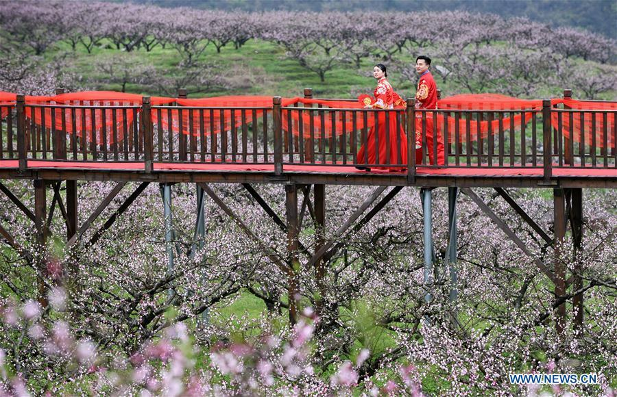 A newly-wed couple view flowers in Wude Town of Shiqian County, southwest China\'s Guizhou Province, April 4, 2019. A group wedding ceremony in traditional style was held here Thursday for couples who have been striving on the frontline for the county\'s fight against poverty. (Xinhua/Yang Wenbin)