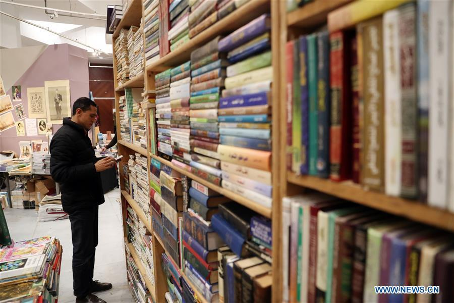 A man visits the Alexandria International Book Fair in Alexandria, Egypt, March 31, 2019. The 15th Alexandria International Book Fair, the second largest exhibition in Egypt, witnessed a high visitor turnout, surprising officials of Bibliotheca Alexandria, the organizing body of the two-week event. (Xinhua/Ahmed Gomaa)