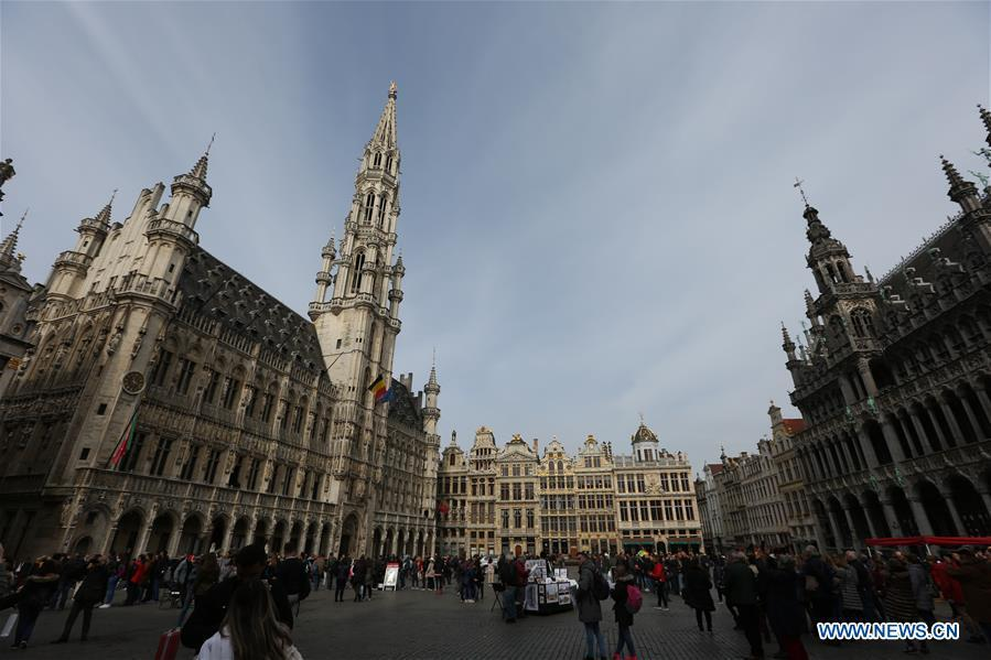 People visit the Grand Place, a UNESCO world heritage site, in Brussels, Belgium, April 6, 2019. Brussels is the capital and the largest city of Belgium. It also enjoys the reputation of the \