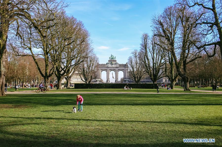 Photo taken on Feb. 17, 2019 shows the Park of the Fiftieth Anniversary in Brussels, Belgium. Brussels is the capital and the largest city of Belgium. It also enjoys the reputation of the \