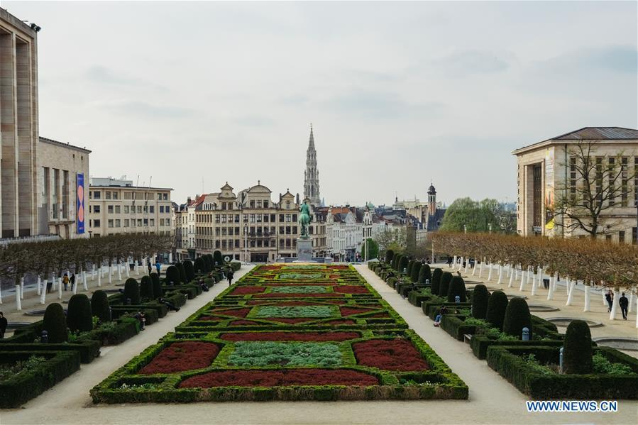 Photo taken on April 5, 2019 shows the scenery of the city of Brussels, Belgium. Brussels is the capital and the largest city of Belgium. It also enjoys the reputation of the \