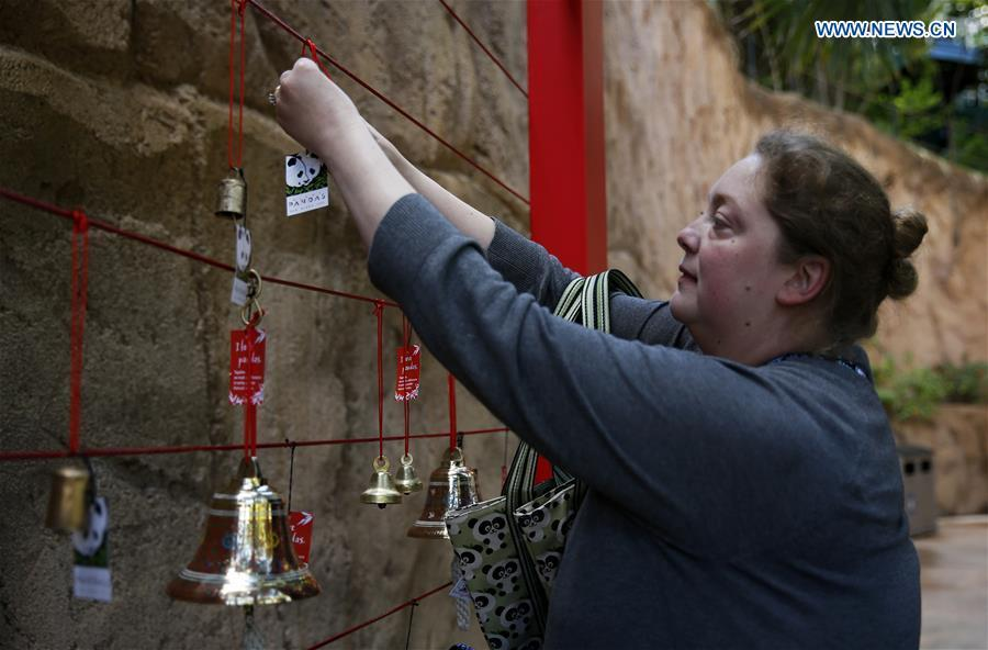 A tourtist hangs a wishing sign on the Giant Panda Friendship Wall in San Diego Zoo in San Diego, the United States, April 6, 2019. The San Diego Zoo in the U.S. state of California held a special ceremony on Saturday to kick off a three-week farewell event for two giant pandas. Twenty-seven-year-old female giant panda Bai Yun and her son, six-year-old Xiao Liwu, will leave the zoo in late April and be sent back to China, as the zoo\'s conservation loan agreement with China has ended. (Xinhua/Li Ying)
