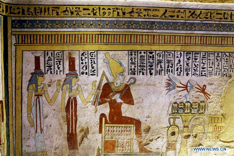 Photo taken on April 5, 2019 shows the paintings in a tomb in Sohag, Egypt. The Egyptian Minister of Antiquities announced on Friday the discovery of a tomb, dating back to the Ptolemaic era which spans from 305 BC to 30 BC, in Sohag province south of the capital Cairo. (Xinhua/Ahmed Gomaa)