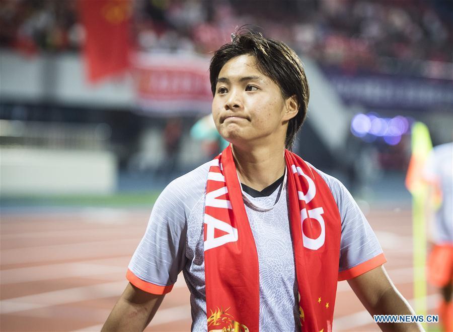 Wang Shuang of China reacts after the final match between China and Cameroon at the 2019 International Women\'s Football Tournament in Wuhan, central China\'s Hubei Province, April 7, 2019. China won 1-0. (Xinhua/Xiao Yijiu)