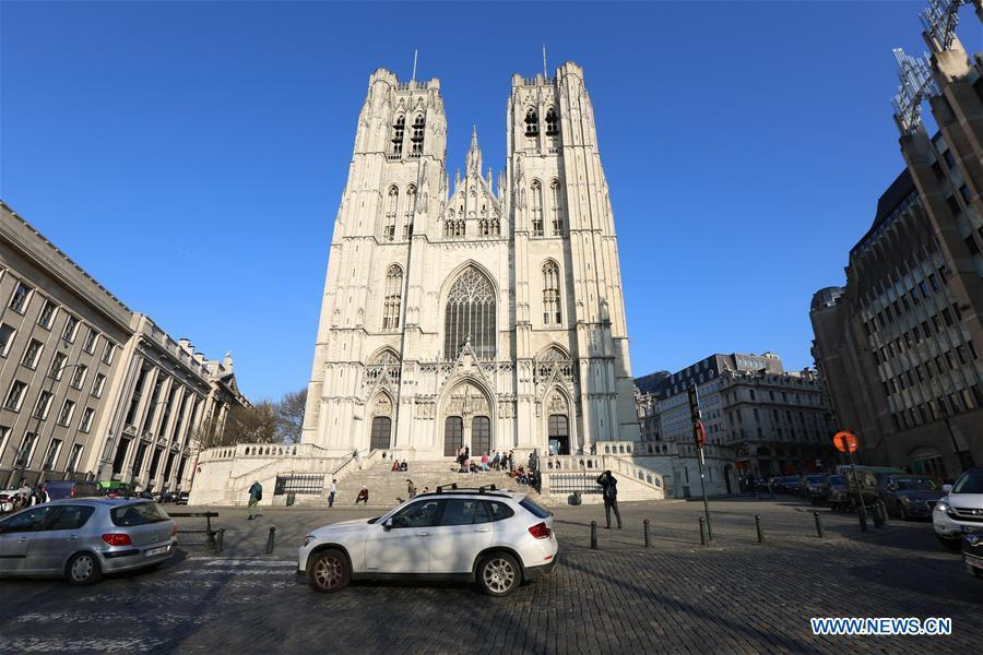 Photo taken on March 21, 2019 shows the St. Michael and St. Gudula Cathedral in Brussels, Belgium. Brussels is the capital and the largest city of Belgium. It also enjoys the reputation of the \