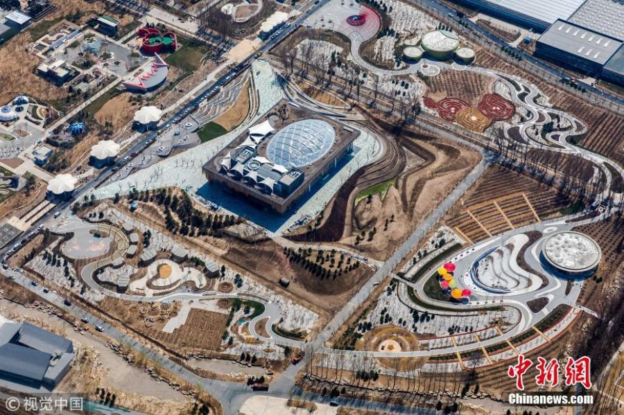 Photo shows the aerial view of the pavilions for the 2019 Beijing International Horticultural Exhibition, April 5, 2019. The exhibition will open on April 29 and run until October 7 in Beijing\'s Yanqing District.  (Photo/VCG)