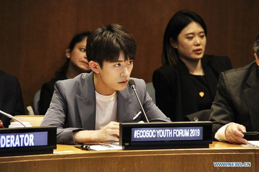 Chinese singer Yi Yangqianxi (front), who is a World Health Organization (WHO) China special envoy for health, attends the Asia and Pacific session of the United Nations Economic and Social Council Youth Forum, at the UN headquarters in New York, April 8, 2019. Yi Yangqianxi on Monday shared his vision of promoting health among young people, citing his experiences working with the World Health Organization (WHO). (Xinhua/Xie E)