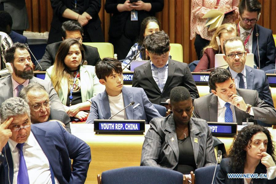 Chinese singer Yi Yangqianxi (C), who is a World Health Organization (WHO) China special envoy for health, attends the Asia and Pacific session of the United Nations Economic and Social Council Youth Forum, at the UN headquarters in New York, April 8, 2019. Yi Yangqianxi on Monday shared his vision of promoting health among young people, citing his experiences working with the World Health Organization (WHO). (Xinhua/Xie E)