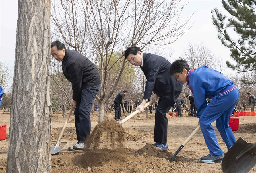 Wang Huning plants a tree in Tongzhou District in Beijing, capital of China, April 8, 2019. Chinese President Xi Jinping, also general secretary of the Communist Party of China Central Committee and chairman of the Central Military Commission, attended the tree-planting activity on Monday. Other Party and state leaders, including Li Zhanshu, Wang Yang, Wang Huning, Zhao Leji, Han Zheng and Wang Qishan, also attended the activity. (Xinhua/Li Tao)