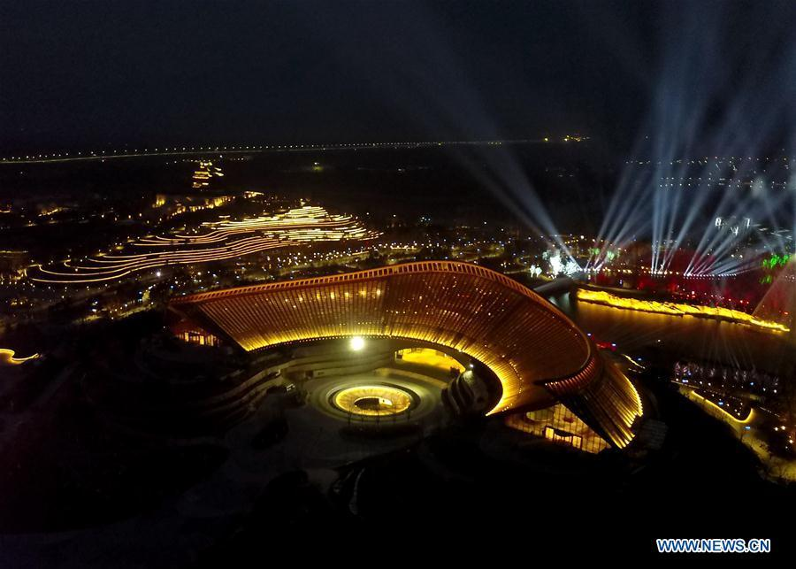 Aerial photo taken on March 26, 2019 shows a night view of the China Pavilion at the site of the International Horticultural Exhibition 2019 Beijing China in Yanqing district of Beijing, capital of China. (Photo/Xinhua)  As a global event for the horticultural industry, the International Horticultural Exhibition gathers the industry\'s global elites and is committed to promoting global exchange in artistic and cultural developments.  The International Horticultural Exhibition 2019, (Beijing Expo 2019 for short) will take place in the Yanqing District of Beijing from April 29 to Oct 7.  Themed \