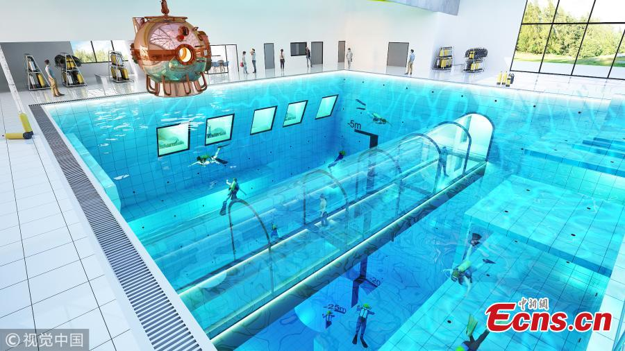 A visualization of the pool (Photo/VCG)  Poland is set to open the world\'s deepest swimming pool later this year.  At 45m deep, the DeepSpot diving pool will be the ideal place for beginner and professional divers alike to practice their skills.  DeepSpot will take the deepest swimming pool title from reigning champ Y-40 Deep Joy in Montegrotto Terme, Italy, which has a depth of 42m.   Deepspot is set to open in Autumn of this year.