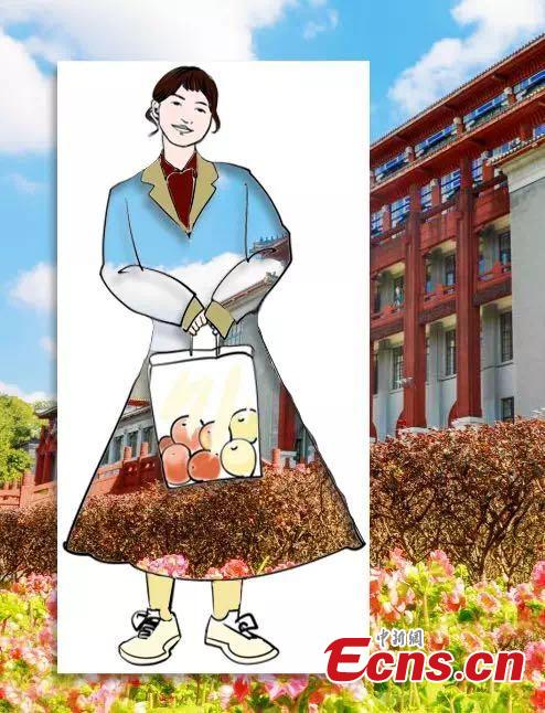 A student at Sichuan University, located in Chengdu City in Sichuan Province, has used A4 paper with artistic cuts in its center to bring the beauty of the outdoors into an image through silhouettes. The design looks like a student wearing outfits decorated with the campus\' amazing landscapes. (Photo provided to China News Service)