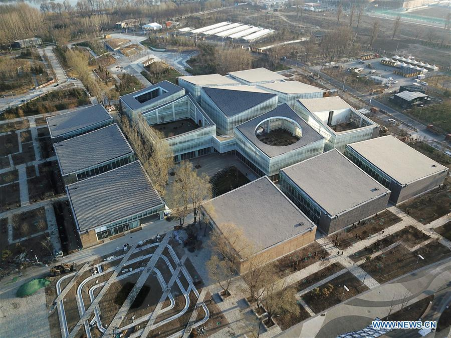 Aerial photo taken on March 27, 2019 shows the Horticultural Life Experience Pavilion at the site of the International Horticultural Exhibition 2019 Beijing China in Yanqing district of Beijing, capital of China. (Photo/Xinhua) Life Experience Pavilion  The Life Experience Pavilion advocates \'green living\' and the area adopts a minimal architectural style to recreate the realistic image of a heartwarming northern village. The themes of \'Sowing,\' \'Growth,\' \'Irrigation\' and \'Harvest\' bring out the suburban charm, enchanting visitors with the beauty of nature and country life.
