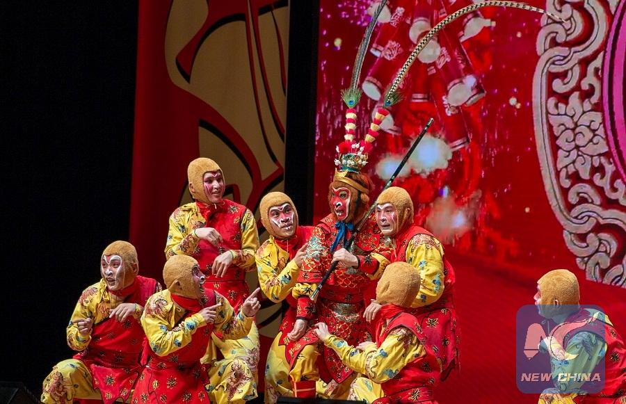 Chinese artists were performing on stage during \