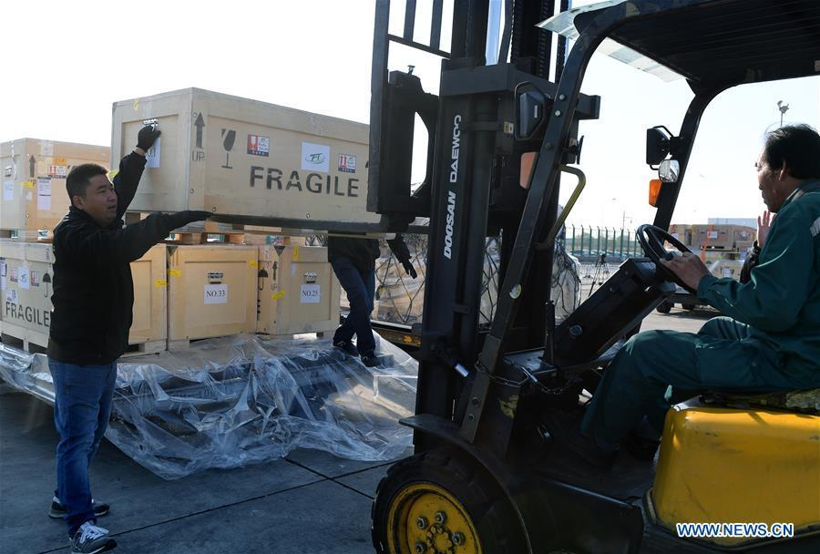 Logistics staff load Chinese cultural relics transported from Italy, which have been cleared by the customs, into vehicles, at Beijing International Airport in Beijing, capital of China, April 10, 2019. A total of 796 Chinese cultural relics arrived at Beijing International Airport at 6:54 a.m. Wednesday after an eight-hour flight from Italy. The group of Chinese artifacts were first noticed by a unit of Carabinieri, or the national gendarmerie of Italy, on the local relics auction market in 2007, which was followed by a domestic judicial trial. (Xinhua/Li He)